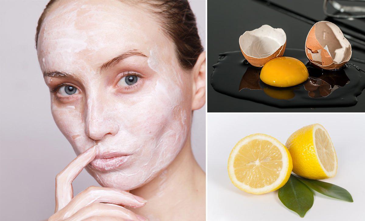 uovo e limone sul viso