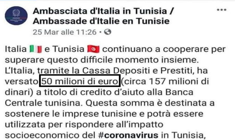 50 milioni alle imprese tunisine