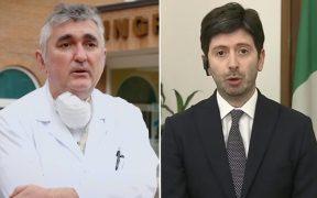 de donno scrive a speranza bandiera italiana politico medico mascherina ospedale camice