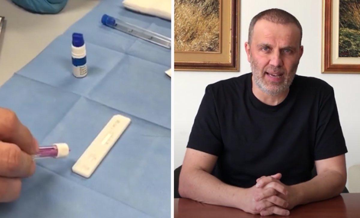 test seriologico provette kit quadri maglietta nera telo chirurgico