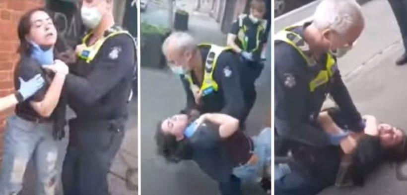 ragazza sena mascherina polizia agente poliziotto arresto